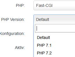 Auswahl der PHP Version